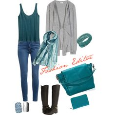 A fashion look from February 2015 featuring grey cardigan, blue tank top and stretch jeans. Browse and shop related looks.