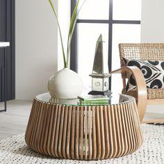 Teak Slativo Coffee Table | Wisteria Wood Slats, Mid Century Style, Teak Wood, Wisteria, Round Glass, Hand Carved, Family Room, Family Rooms, Living Room