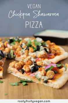 Vegan Chickpea Shawarma Pizza is the love child of plant based pizza and vegan shawarma! The chickpea shawarma is full of flavor and the pizza is made complete with a creamy cilantro infused creamy garlic tahini drizzle. This vegan pizza is freezable, meal-prep friendly, and kid-friendly too! Try this plant based pizza out for your next weeknight meal!  #veganpizza #veganshawarma #plantbasedrecipe #wfpb #chickpearecipe #oilfreevegan Vegan Pizza Recipe, Delicious Vegan Recipes, Healthy Recipes, Easy Recipes, Healthy Food, Freezable Meal Prep, Vegan Weeknight Meals, Chickpea Recipes, Veggie Recipes