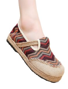 Soojun Women's Linen Handmade Wave Pattern Espadrilles Casual Flats Shoes Size US 7.5 Coffee. Check Soojun Size Chart(Product Description)to get a perfect fit. Breathable and Durable Cotton Linen. Soft, Light, and Super Comfortable. Please find the matched cute linen dresses in our stores. Espadrille featuring jute-wrapped midsole, crochet accents.