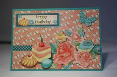 More Graphic 45 Cafe Parisian today, and aren't those cakes yummy-looking? The colours are gorgeous on this paper, and with some fussy cutting and mounting on foam pads only a bit of kindygli…