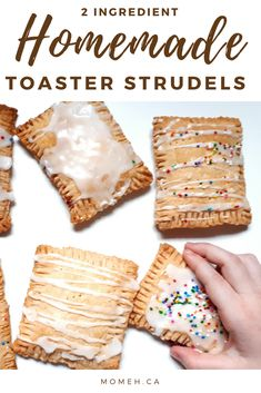 These homemade toaster strudels are just 2 simple ingredients, and only take minutes to put together. Which means I can make these delicious treats often. Which is good, because they don't tend to last long in my house. Homemade Toaster Strudel, Strudel Recipes, Yummy Treats, Yummy Food, Swiss Steak, Quick And Easy Breakfast, Breakfast Ideas, Breakfast Recipes, Fast Dinners