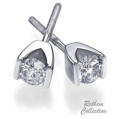 SKU: RE20911-3w-025-400 White gold tension set diamond stud earrings feature certified round diamonds in a strong tension setting and available in a wide range of sizes.