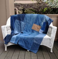 Hand-sewn denim and linen patchwork throw 50x70 by AmericanScrap