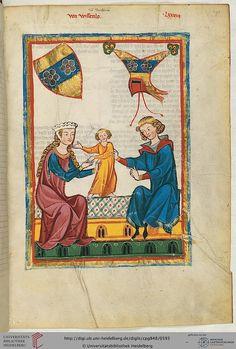 Cod. Pal. germ. 848: Große Heidelberger Liederhandschrift (Codex Manesse) (Zürich, ca. 1300 bis ca. 1340) (Cod. Pal. germ. 848) - note the toddler's clothing.