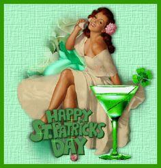 Happy St. Patrick's Day sexy drink glitter green woman gif cocktail irish st patricks day