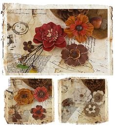 """Laredo Flowers  Leather flowers with wooden beads and centers. These little """"must haves"""" can give a feminine or masculine feel."""