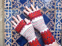 Ravelry: Vaasa pattern by Danielle Kassner. This pattern combines Crochet Jacquard and stranded knitting on dpn's, in the tradition of the Korsnäs sweaters of Finland. Slip Stitch Crochet, Crochet Mitts, Diy Crochet And Knitting, Crochet Gloves, Crochet Stitches, Ravelry, Caron Yarn, Tapestry Crochet Patterns, Fingerless Mitts