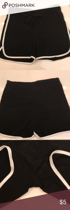 Black shorts These shorts are cute and comfy and in excellent condition they were worn once! They are 100% cotton and have absolutely no pilling! They are a little wrinkled since they were in the way back of my dresser! Shorts
