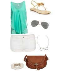 Teal and white spring outfit