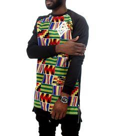 New Africa Longline Kente Sweatshirt
