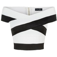Monochrome Bandage Bardot Crop Top (30 PEN) ❤ liked on Polyvore featuring tops, crop tops, shirts, crop top, white top, slim fit shirts, off the shoulder shirts and white off the shoulder shirt