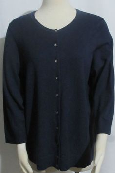 NEW Womens Ladies Plus CHARTER CLUB Navy Blue  Button Front Cardigan Sweater 1X #CharterClub #Cardigan