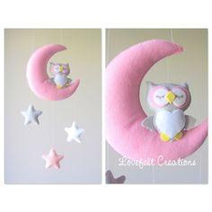Baby mobile - Moon mobile - pink mobile - Baby girl mobile - owl mobile
