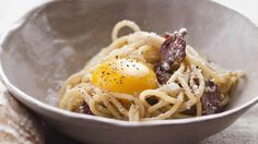 The infamous Mario Batali says no cream. All you need is egg to make a fabulous carbonara sauce! #TheWineSiren