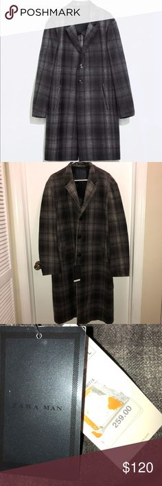 """Zara men's wool checkered gray plaid trench coat Gorgeous Zara man long trench coat  Checkered / plaid gray print  Wool blend  Size Large  Measures Underarm to underarm : 25"""" Shoulder to cuff: 25"""" Shoulder to hem: 42""""  $259 tag attached Zara Jackets & Coats Trench Coats"""