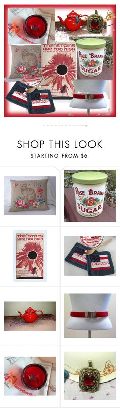 Thrifty Vintage Team's Color Of The Week - Red by jjantiq on Polyvore featuring interior, interiors, interior design, home, home decor, interior decorating, vintage, ColoroftheWeek, thriftyvintageteam and redcoloroftheweek