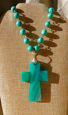 Turquoise Cross Necklace Religious necklace Statement by FunNFiber