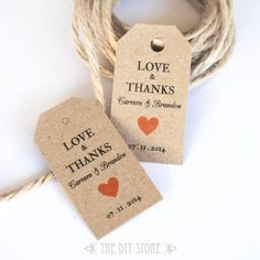 Gift Tag Template SMALL Gift Tags Tangerine Heart by TheDIYStore