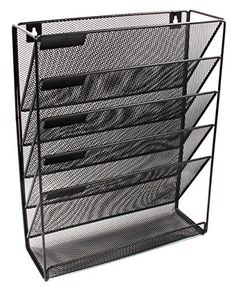 EasyPAG Mesh Wall Mounted File Holder Organizer Literature Rack 5 Compartments Black - List for Home and Garden Products Wall File Holder, Hanging File Organizer, File Organiser, Office Supply Organization, File Organization, Organizing, Workspace Design, Office Workspace, Folder Holder