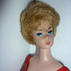 1960's dolls | 1960's Golden Blonde Bubblecut Barbie Doll + Red Swimsuit from doll ...