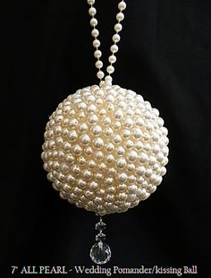 """Elegant Mixed size Set of 6 Flower Pomanders Mixes set: 1-9"""", 2-8"""", 3-7"""" Stunning Wedding Pomanders all with a different length pearl handle and all with a completely differently design crystal bottom"""