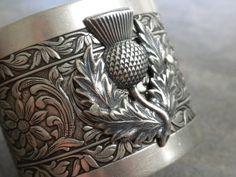 Silver Thistle Bracelet Cuff Scottish Jewelry di Serrelynda, $68.00