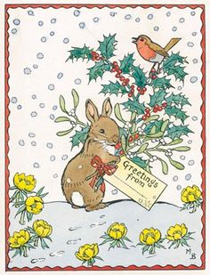 Illustration by Molly Brett depicting a small rabbit holding a rather large bunch of holly and mistletoe.