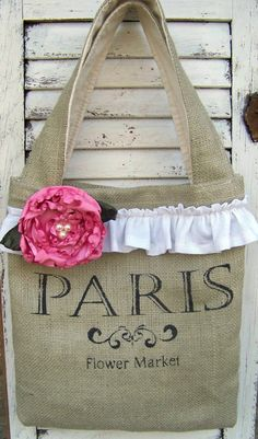 shabby chic burlap crafts | Burlap Tote Bag in Shabby and Chic French Style by MyStylishNest ...