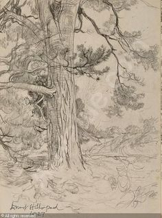 """""""Supposing a tree fell down, Pooh, when we were underneath it?"""" Preliminary sketch for A. A. Milne, The House at Pooh Corner (London: Methuen, 1928)  Date : 1927"""