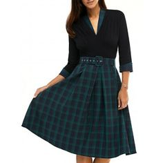 SHARE & Get it FREE | Vintage 3/4 Sleeve V Neck Plaid Knee-Length DressFor Fashion Lovers only:80,000+ Items·FREE SHIPPING Join Dresslily: Get YOUR $50 NOW!