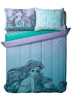 Disney The Little Mermaid Ariel Sketch Ombre Microfiber Full/Queen Comforter NIP