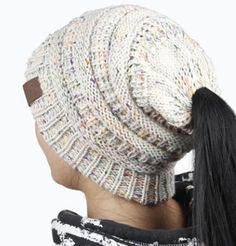 Messy Bun Knitted Beanie