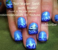 Nail-art by Robin Moses NO nater marble waves with a boat!