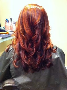 Hair by AprilNadeau. Auburn with copper highlights over deep violet nape. Redken color, Stephen and Company Hair and Beauty
