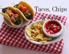 Miniature Food - Tacos, Chips & Salsa by Toni Ellison