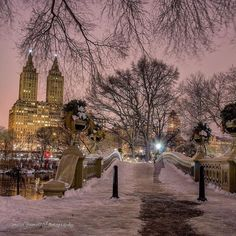 An evening view of The San Remo Building from Bow Bridge, Central Park by mitzgami - New York City Feelings Winter Images, Winter Pictures, New York City Travel, New Travel, Pretty Pictures, Cool Photos, New York Christmas, Winter Scenery, Months In A Year