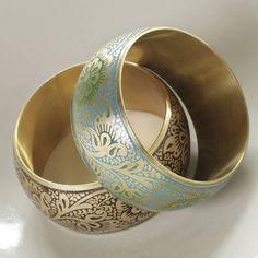 Beautiful green & amber ethnic feel bangles