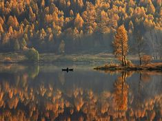 Rich fall colors line the banks of a quiet river in Satka, Russia. The small town is on the western slope of the Ural Mountains, which mark the geographical divide between Europe (to the west) and Asia (to the east). Photograph by Mikhail Trakhtenberg, National Geographic Your Shot. October 23, 2013
