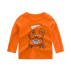 Years Children baby Kids long sleeve T-shirt Autumn Spring Kids Casual Cartoon Long Sleeve Baby Boys Girls Crab Tops Cute Outfits For Kids, Cute Kids, New Years Sales, Cute Tshirts, Gifts For Boys, Sensitive Skin, Orange Color, Sweatshirts, Long Sleeve