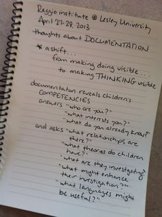 Documentation someones thoughts from the Reggio Emilia conference at Lesley University Learning Stories, Play Based Learning, Project Based Learning, Early Learning, Reggio Children, Reggio Classroom, Classroom Ideas, Classroom Inspiration, Reggio Emilia Approach