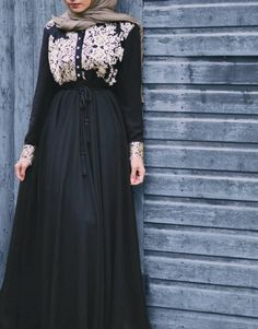 Thankyou for this beautiful abaya. I love it! Product detail: Faiza embroidered abaya (Gold) Thankyou for this beautiful abaya. I love it! Arab Fashion, Islamic Fashion, Muslim Fashion, Modest Fashion, Fashion Muslimah, Fashion Black, Dress Fashion, Muslim Dress, Hijab Dress