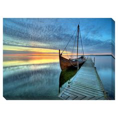 ❥ Ship at Dock Oversized Gallery Wrapped Canvas | Overstock™ Shopping - Top Rated Canvas