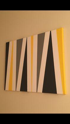 Canvas art.... Acrylic paint... Sponge brushes... Painters tape