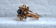 Vintage Retro 18K Yellow Gold Sapphire Ring. by GoldAdore on Etsy