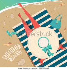 Top view of a girl in wide-brimmed hat sitting on a striped beach mat by the sea - Summer vacation concept. Vector illustration