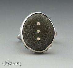Beach Stone Jewelry Silver Ring Summer Style Pebble by LjBjewelry