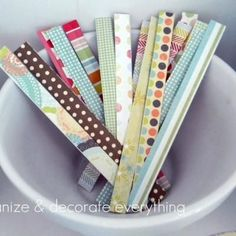 "Homemade Twist Ties: ""Using wire, double stick tape, and your favorite paper scraps, you can make these homemade twisty ties. They would be adorable at the top of a cellophane treat bag – no ribbon required!"""