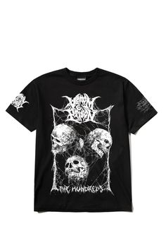 The Hundreds X Venom Prison t-shirt features an exclusive design by artist Mark Riddick, as well as branding for both The Hundreds and Welsh death metal band, Venom Prison Venom Prison, The Hundreds, Band Shirts, Death Metal, Metal Bands, Skulls, Branding, Tees, Artist