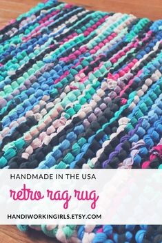 In bright shades of pink, purple, teal, and blue, our hand-knitted rag rug has a retro-inspired feel: https://www.etsy.com/listing/75523906/rag-t-shirt-rug-bright-pink-teal-blue